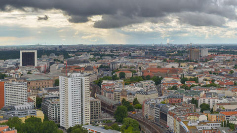 berlin aerial wide clouds time lapse pan 11457 Footage