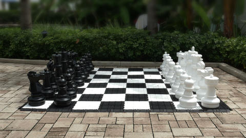 1897 Giant Chess Set Outside, HD Footage