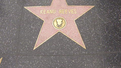 hollywood walk of fame star walking shot keanu ree Stock Video Footage