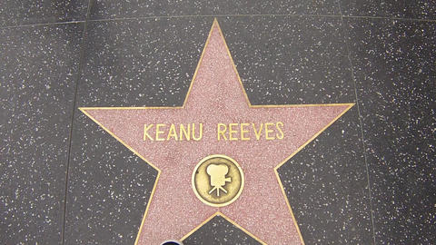 hollywood walk of fame star walking shot keanu ree Footage
