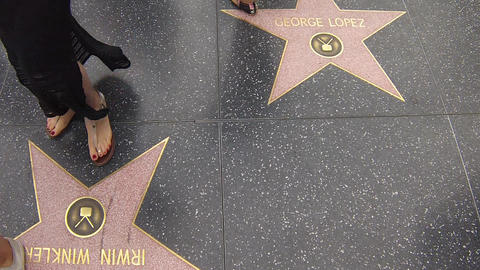 hollywood walk of fame star walking shot with peop Stock Video Footage