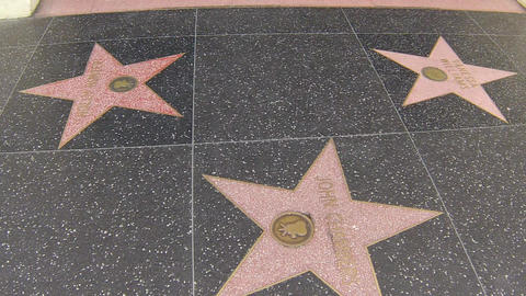 hollywood walk of fame stars pan left to right Footage