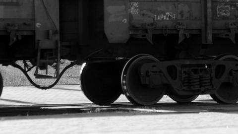 Cargo train wheels close up Footage
