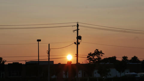 1959 Sunset With Power Lines, 4K stock footage