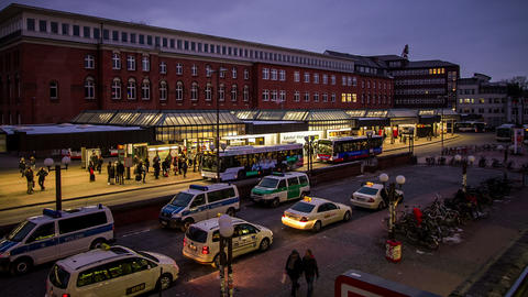 Hamburg Bus Stop DSLR Time Lapse Stock Video Footage