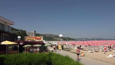The beach in Albena. Resort Spa in Bulgaria. 4K Stock Video Footage