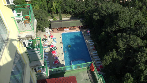 The pool at the hotel in Bulgaria. 4K Stock Video Footage