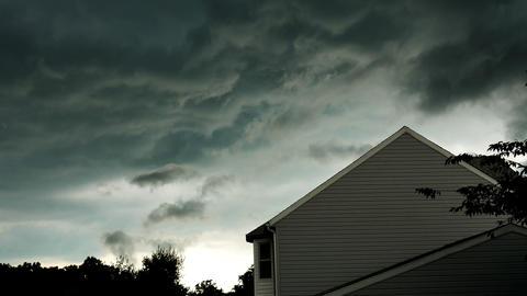 1970 Dark Storm Clouds at Neighborhood, HD Footage
