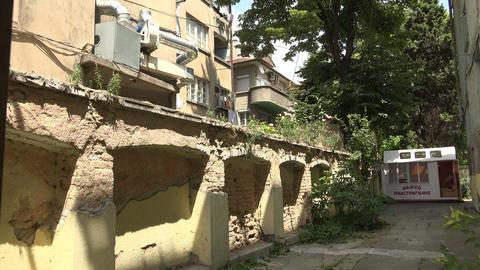 Old courtyard in Varna. Bulgaria. 4K Stock Video Footage