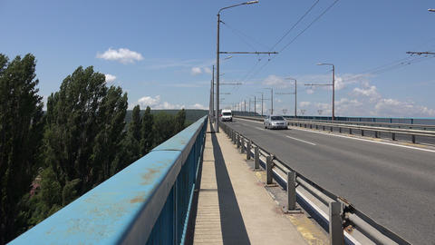 Asparuhov bridge in Varna. Bulgaria. 4K Footage