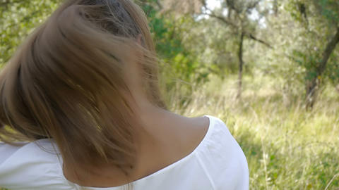 Girls with long hair (slow motion) Footage