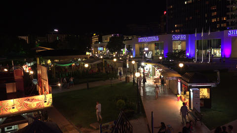 Nightlife in the Golden Sands resort. Varna. Bulga Stock Video Footage