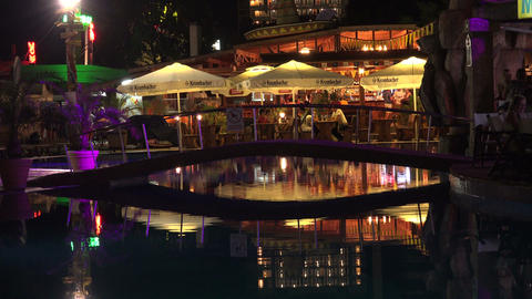Nightlife in the Golden Sands resort. Varna. Bulga Stock Video Footage