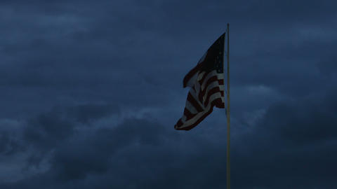 1985 American Flag at Dusk, 4K Stock Video Footage