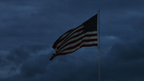 1985 American Flag at Dusk, 4K Footage