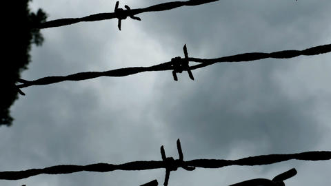 1996 Barbed Wire Fence Prison Boundary, HD Footage