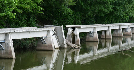 2008 Bridge Damaged by Tree at a Lake, 4k Live Action