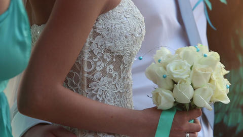 bride in lace slinky slender white dress Footage