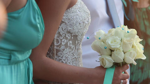 bride in lace slinky slender white dress Stock Video Footage