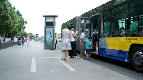 Xidan Bus Station At Daytime 4k stock footage