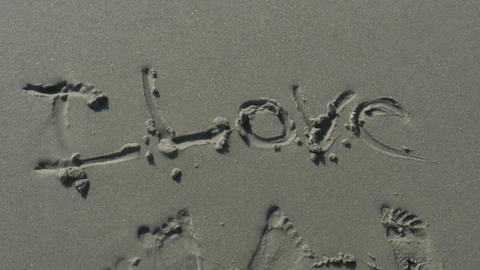 2011 Love Written in the Sand at the Beach, HD Footage