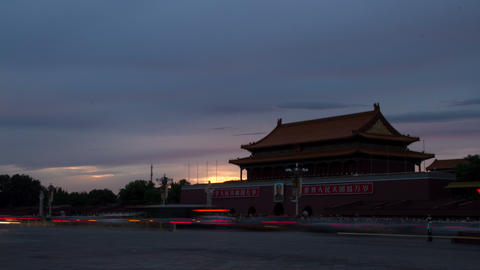 Tiananmen with sunset glow 4k Live Action