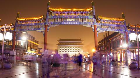 Qianmen pedestrian street at night 4k Footage