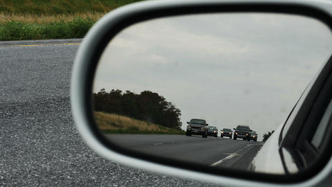 2037 Cars Driving on Highway Rear View Mirror, 4K Footage