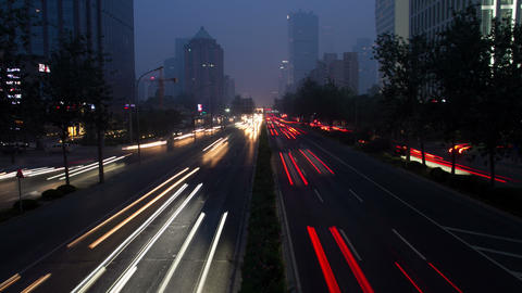 Beijing 3rd Rind Road At Night 4k stock footage