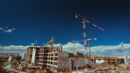 4K Construction Site With Cranes Wide View Timelap stock footage