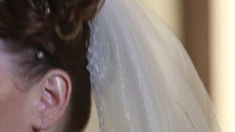 veil hanging from the head brunette bride Footage