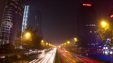 Beijing 3rd rind road at night 4k Footage