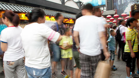 Wangfujing Snack Street At Daytime HD stock footage