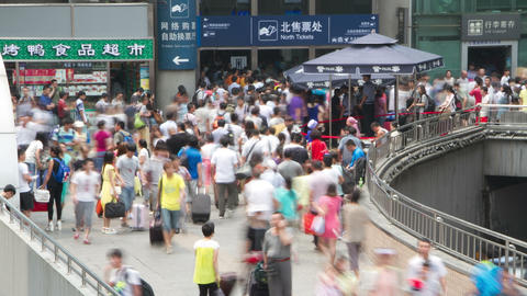 Crowd in Beijing west railway station at daytime H Footage