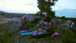 Dinner outdoors Stock Video Footage