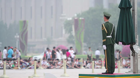 National Flag Guard In Tiananmen Square At Daytime stock footage