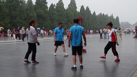Morning exercise in the Temple of Heaven HD Footage