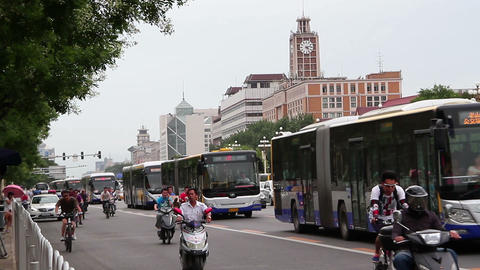 Beijing west Chang'an street at daytime. HD Stock Video Footage