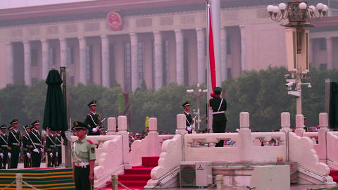 National flag guard of honour in Tiananmen square  Footage