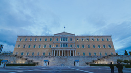 4K Greece Parliament Day To Night Timelapse Timela stock footage