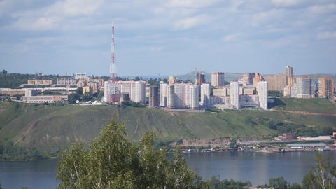 Krasnoyarsk cityscape. Left bank of Yenisei river Footage