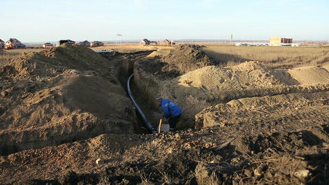 Pipeline trench Stock Video Footage