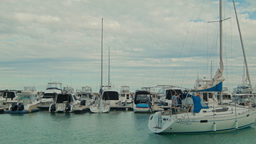 Boats Moored in a Marina Time Lapse Stock Video Footage