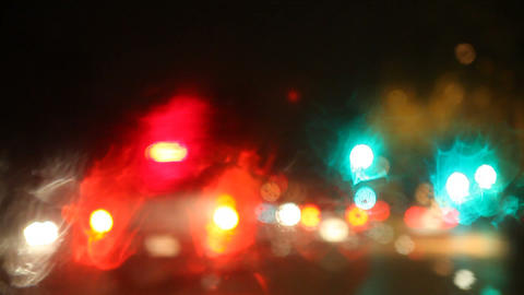changing lanes on a rainy night Stock Video Footage