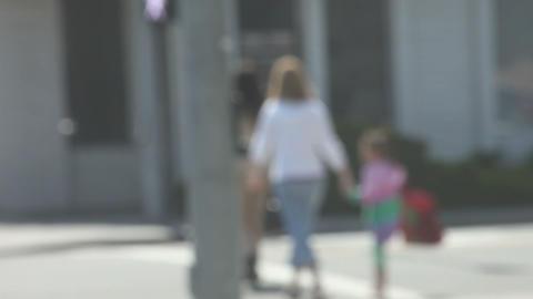 shoppers crossing street Footage