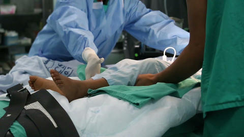 Nurses Moving From Hospital Bed In Operation Room  stock footage