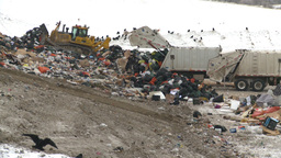 HD2008-12-8-7 landfill caterpiller g truck Stock Video Footage