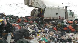 HD2008-12-8-11 landfill caterpiller g truck Stock Video Footage