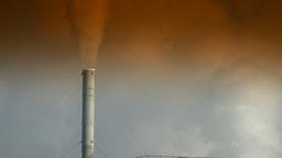 HD2008-12-9-3 Smoke stacks winter CK filter Stock Video Footage