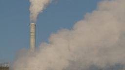 HD2008-12-9-5 Smoke stacks winter Stock Video Footage